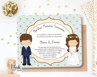 First Holy Communion Invitation for Siblings • Invitation comes with it's Cardstock Envelope