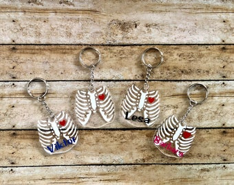 Customizable Radiology Key Chain - Chest X-Ray - Acrylic Key Chain - Key Ring - Choose Your Colors