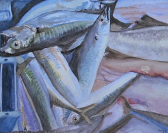 Catch of the Day-  An original watercolour painting