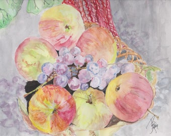 Apples and Grapes-            An original painting Still Life.