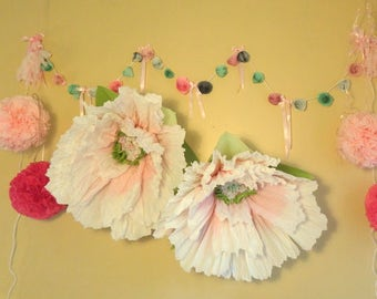 Giant Hanging Tissue Paper Poppy~Ready To Hang~ Wall Flowers~Paper Poppies~Opened~Bloomed~Giant Wedding Flowers~Photo Background Flowers