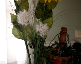"Giant Dandelion-Double 4"" Head~32"" Tall~Long Wispy Grasses~Artificial Dandelion~Rustic Wedding~Farmhouse"