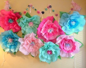 Giant Paper Flowers~Large paper Flower~Giant Paper Rose~Open Ready To Hang~Giant Wedding Flowers~Mermaid Party Decorations~Photo Backdrop