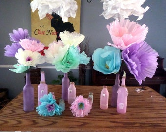 Large Tissue Paper Flowers Wire Stem~Poppy Or Rose Petal~Hand Made~Open and Ready to Use~Stem or Flat Back~Luau~Under the Sea Poppies~Roses