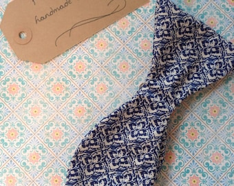 Handmade blue patterned bow tie
