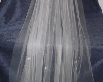 Crystal Beaded Bridal Veil, 111 cm long