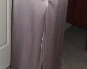 Dusty Pink Satin Crepe Panel Trouser Pants, Size 12, Below Waist Style