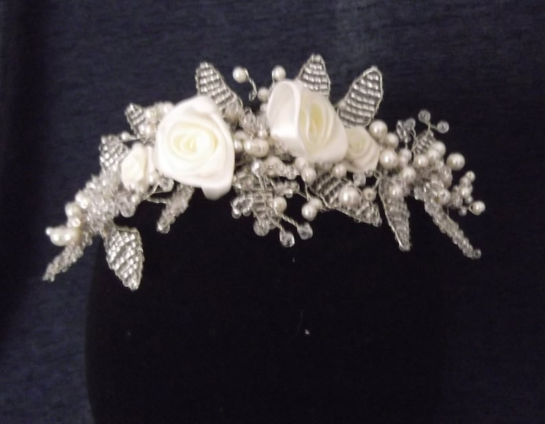 Roses Pearl and Crystal Bead Woven Headpiece available in white or ivory