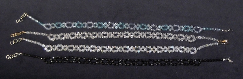 Vintage Inspired Crystal Necklace Clear AB  Crystal Clear Blue Hand Woven Necklace Choker Length Necklace