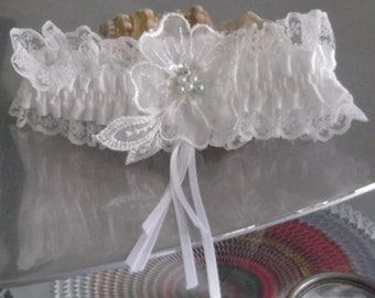 White Satin and Lace Bridal Garter