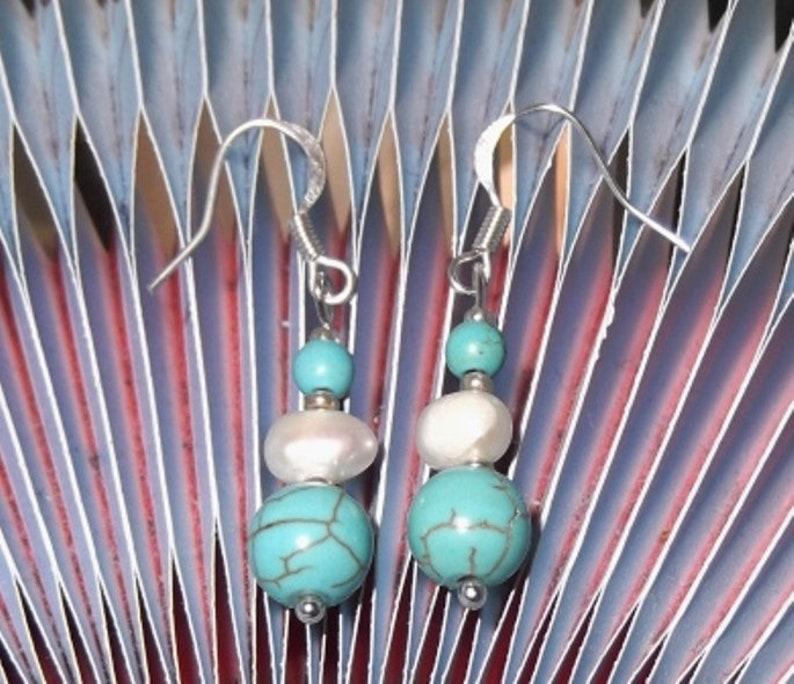 Freshwater Pearl Pierced Shepherds Hook Natural Crystal Turquoise Gemstone Drop Earrings