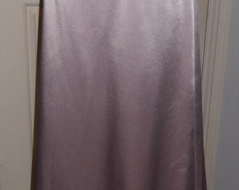 French Chantilly Lace Appliqued Dusty Pink Satin Crepe Skirt, Size 12, Lined