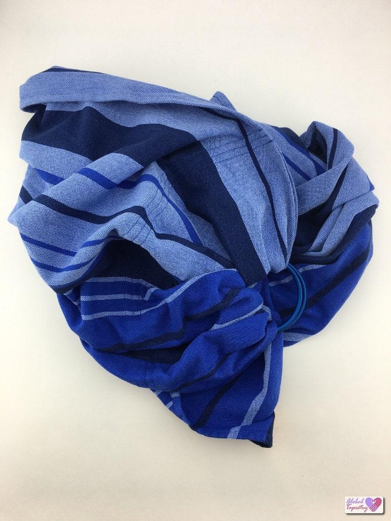 Ring Sling Baby Carrier Babywearing Woven Wrap - Little Frog Kyanite Blue  Navy Aqua Cotton, Pregnancy Gift, new mom mum present, baby shower