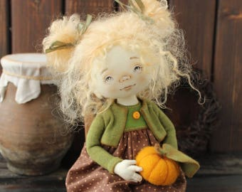 OOAK art doll, collecting doll, textile doll, fabric  doll, interior doll, handmade doll girl, craft doll, vintage doll, pumpkin, SOLD