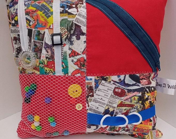 Vintage Comic Book Sensory Activity Dementia Cushion -  Alzheimer's aid - busy blanket pillow quilt mat fidget toy gift activities
