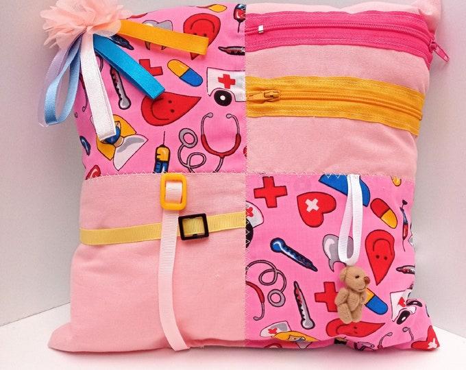 Doctor Nurse Health Workers Sensory Activity Dementia Cushion -  Alzheimer's aid - busy blanket pillow quilt mat fidget toy gift activities