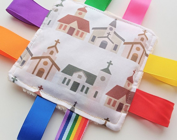 Churches Themed Sensory Taggy Bean Bag / mini cushion  Sensory Fidget Activities aid for adults with dementia Special Needs Anxiety