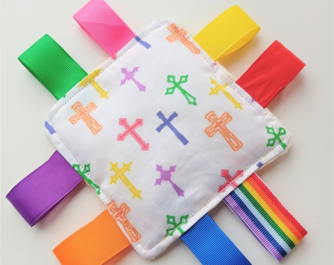 Religious Cross Themed Sensory Taggy Bean Bag / mini cushion  Sensory Fidget Activities aid for adults with dementia Special Needs Anxiety