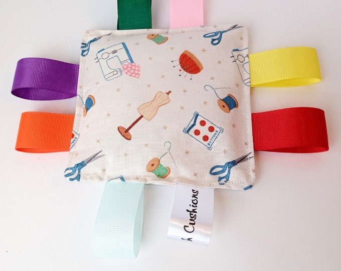 Small Print Fabric Sewing Themed Sensory Taggy Bean Bag / mini cushion - Sensory Fidget Activities aid for adults with dementia Alzheimer's