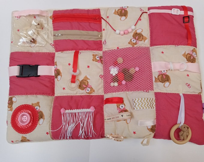 Childhood Memories Teddy Bear Activity Lap Mat  - Sensory Dementia activities - Busy Quilt gifts for Adults with Special Needs Anxiety PTSD