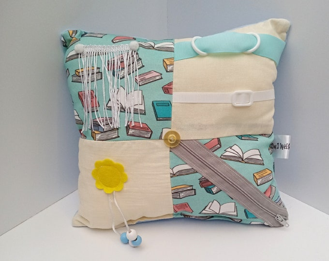 Book Lovers Sensory Activity Dementia Cushion -  Alzheimer's aid - busy blanket pillow quilt mat fidget toy gift activities