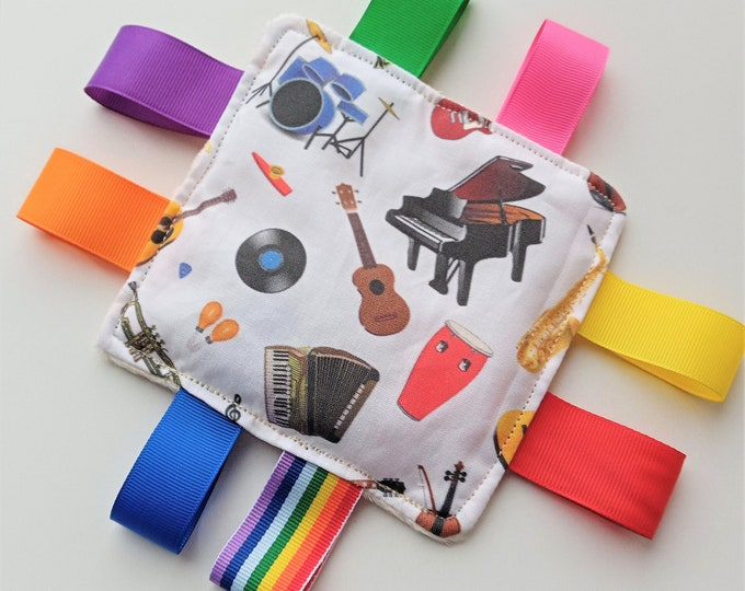Musical Instruments Rainbow tags Sensory Taggy Bean Bag / mini cushion - Sensory Fidget Activities aid for adults with dementia Anxiety