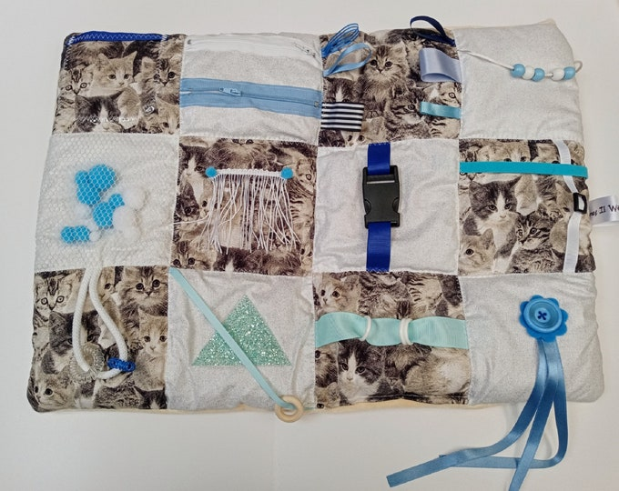 Blue Kittens Themed Activity Lap Mat  - Sensory Dementia activities - Gifts for Seniors - Busy Quilt for Adults with Special Needs Anxiety