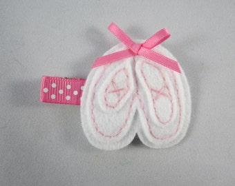 Ballerina slippers felt hand sewn hair clip