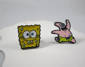 Spongebob and Patrick inspired studs earrings