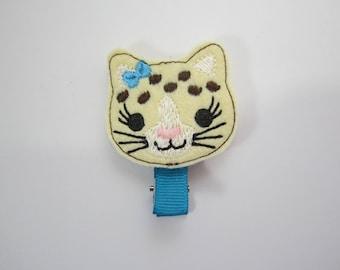 Leopard kitty cat felt embroidered hair clip handmade