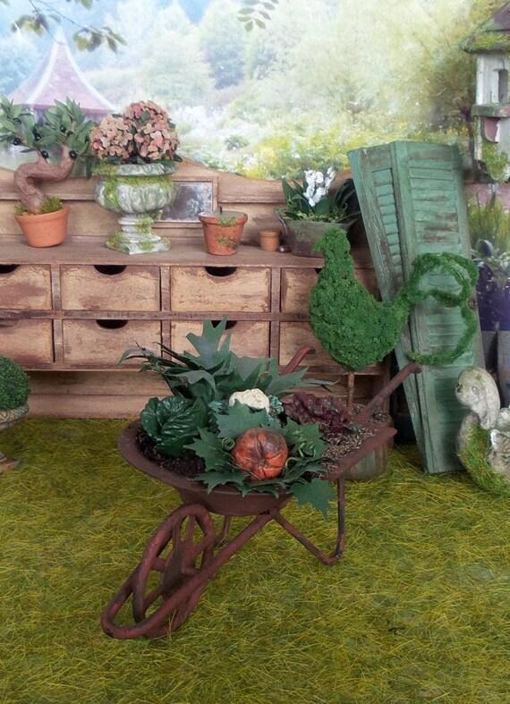 Maison de poupées bleu brouette miniature échelle 1:12 Yard Jardin Accessoire