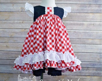 Girls Tunic & Bloomers Set, Toddler Tunic and Bloomers Set, Denim and Gingham, Red White and Blue, 3T Ready to Ship