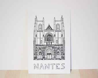 Carte postale Cathédrale de Nantes à colorier