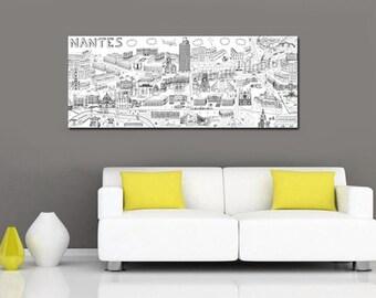 Tableau illustration Nantes - Grand format format