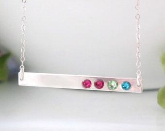 d0d343a72d Sterling Silver Bar Necklace - Birthstone Bar Necklace - Sterling Silver Birthstone  Necklace For Mom - Gift for Mom - Christmas Gift for Mom