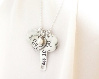 b92ff6c080 Family Necklace - Personalized Family Necklace - Long Charm Necklace for  Mom - Hand Stamped Necklace with Names - Mother's Day Gift