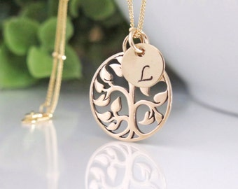 3bf54a250c Gold Tree Necklace - Tree of Life Necklace - Gold Family Tree Necklace with  Initials - Hand Stamped Initial Discs - Gift for Mom - Free Ship