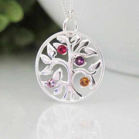 edcd0ccd15 Tree of Life Necklace Family Tree Birthstone Necklace | Etsy