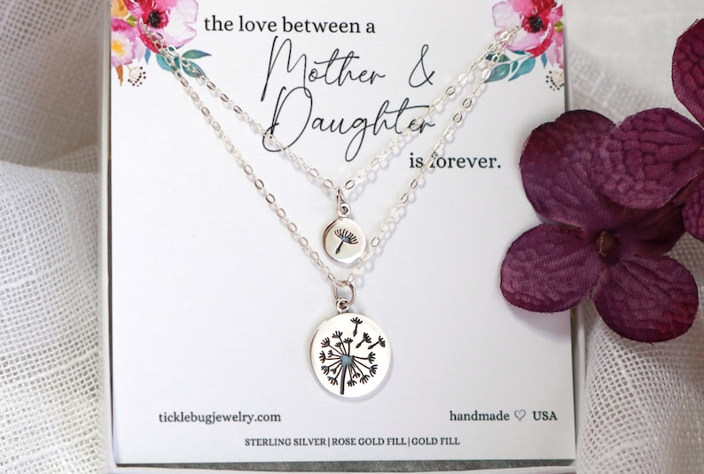 The Love Between a Mother and Daughter is Forever Necklace Sterling Silver Dandelion Necklace Set Mother/'s Day Gift for Mom from Daughter