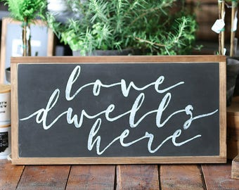1'X2' Love Dwells Here Framed Wood Sign