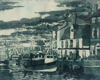 Harbour - aquatint etching based on Weymouth Harbour