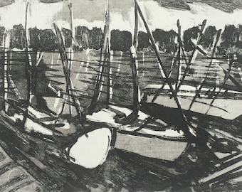 Aquatint etching of boats in Weymouth harbour