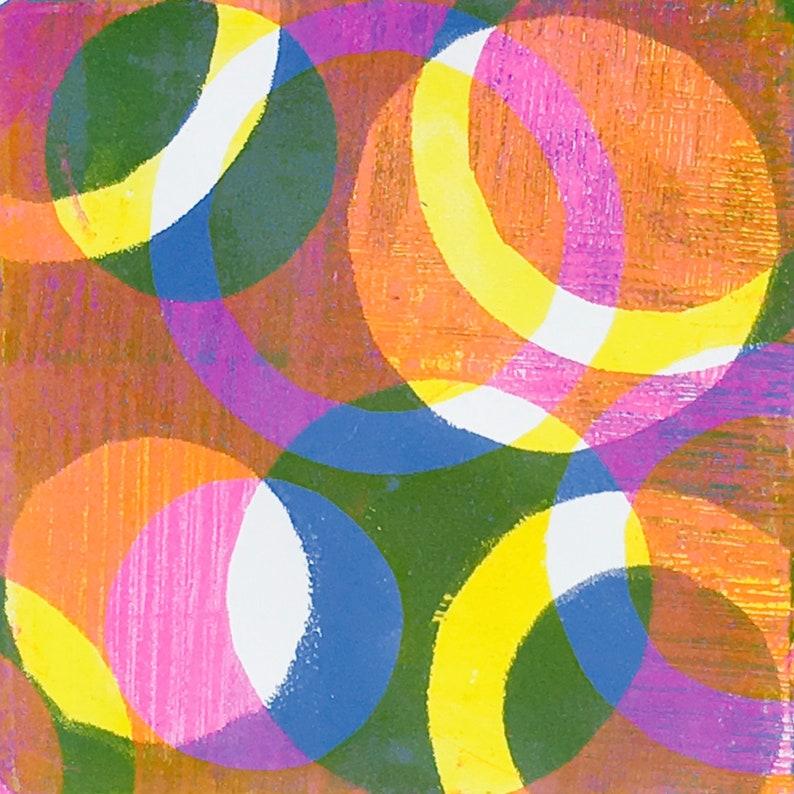 Original 5 colour monotype print