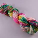 Hand dyed Merino/ Nylon yarn, DK weight, 100g, FESTIVAL, green, yellow, pink