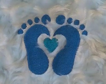 Heart Baby Feet Machine Embroidery Design Pattern Three sizes included 2x2, 3x3, 4x4 hoops by Titania Creations. Instant Download