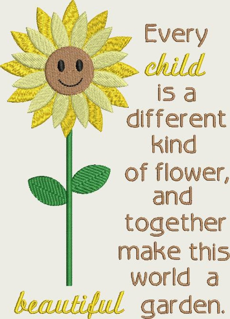 Sunflower With Every Child Quote Machine Embroidery Design Etsy