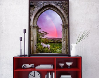 Enjoyable Medieval Arch With White Horse And Monochrome Rainbow Interior Design Ideas Apansoteloinfo