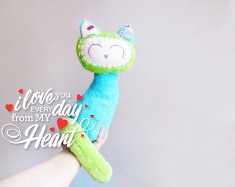 Fleece Cat Toy sewing Project, Felt Face Kitten Pattern, Plush toy, PDF format download