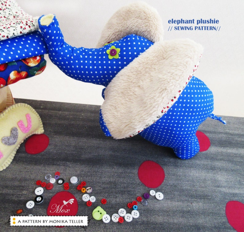 Elephant Happy Sewing Pattern with instructions PDF Softie image 0