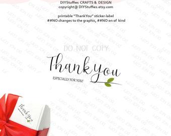 Stickers design Thank You holiday PRINTABLE label original hand drawn cute creative sticker